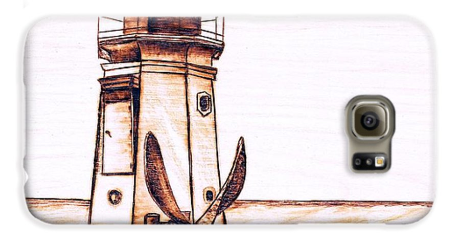 Lighthouse Galaxy S6 Case featuring the pyrography Vermilion Lighthouse by Danette Smith
