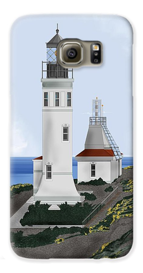 Lighthouse Galaxy S6 Case featuring the painting Anacapa Lighthouse California by Anne Norskog