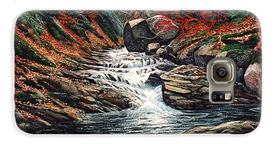 Landscape Galaxy S6 Case featuring the painting Autumn Brook by Frank Wilson