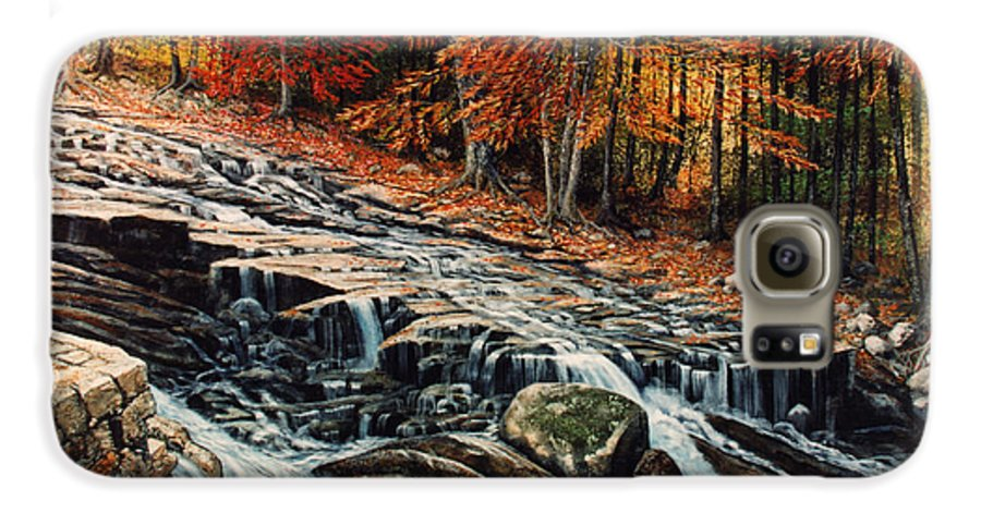 Landscape Galaxy S6 Case featuring the painting Autumn Cascade by Frank Wilson
