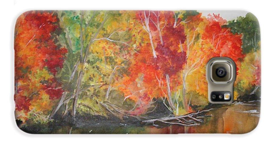 Autumn Galaxy S6 Case featuring the painting Autumn Splendor by Jean Blackmer