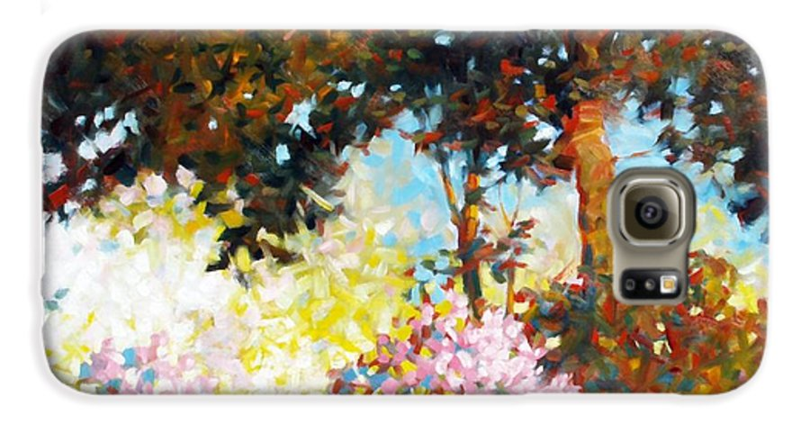 Landscape Galaxy S6 Case featuring the painting Azaleas by Kevin Lawrence Leveque