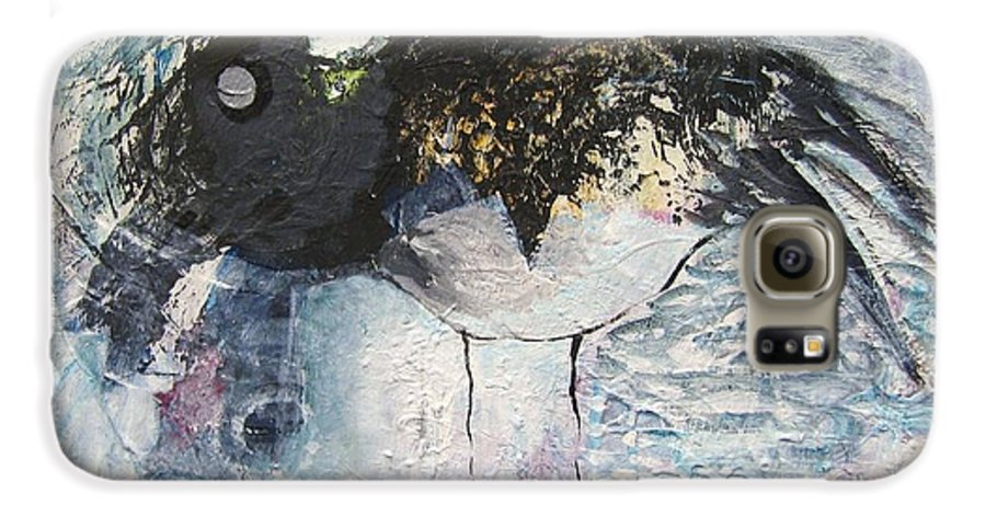Robin Painting Galaxy S6 Case featuring the painting Baby Robin by Seon-Jeong Kim