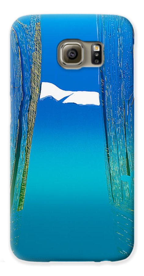 Landscape Galaxy S6 Case featuring the mixed media Between Two Mountains. by Jarle Rosseland