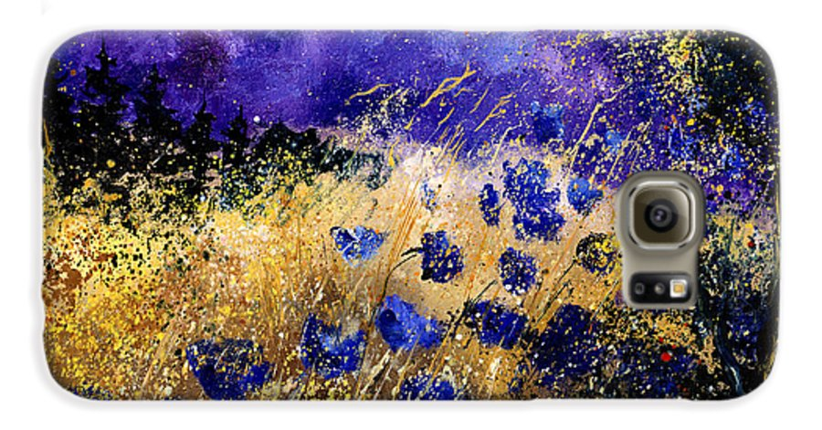 Poppies Galaxy S6 Case featuring the painting Blue Cornflowers by Pol Ledent