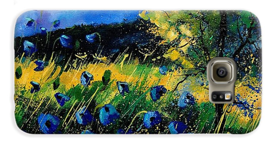 Poppies Galaxy S6 Case featuring the painting Blue Poppies by Pol Ledent