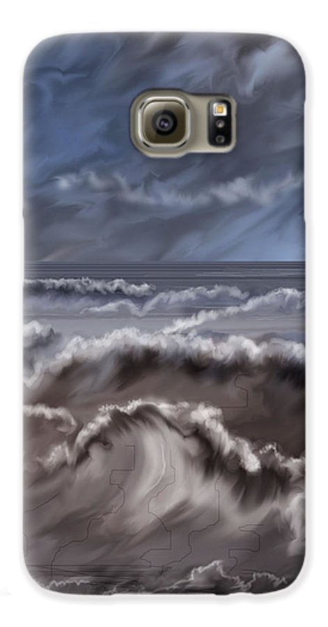 Seascape Galaxy S6 Case featuring the painting Caramel Seas by Anne Norskog