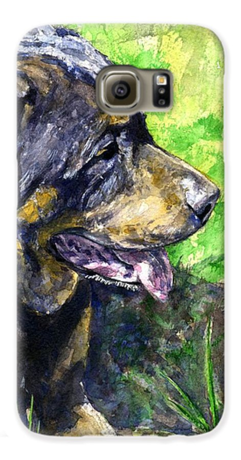 Rottweiler Galaxy S6 Case featuring the painting Chaos by John D Benson