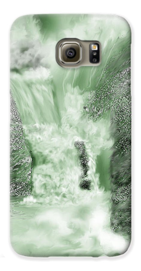 White Water Galaxy S6 Case featuring the painting Cherry Creek Lower Run by Anne Norskog
