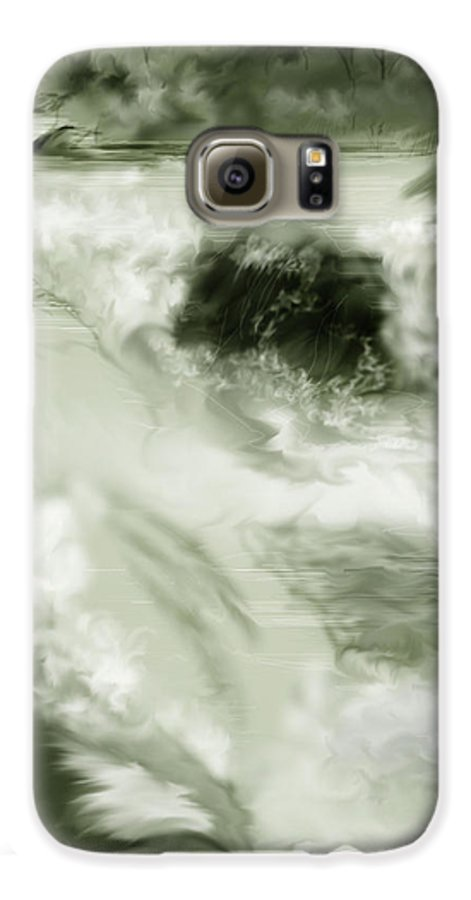 White Water Landscape Galaxy S6 Case featuring the painting Cherry Creek White Water by Anne Norskog