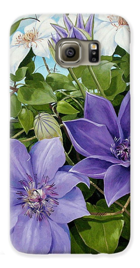 Clematis Galaxy S6 Case featuring the painting Clematis 2 by Jerrold Carton