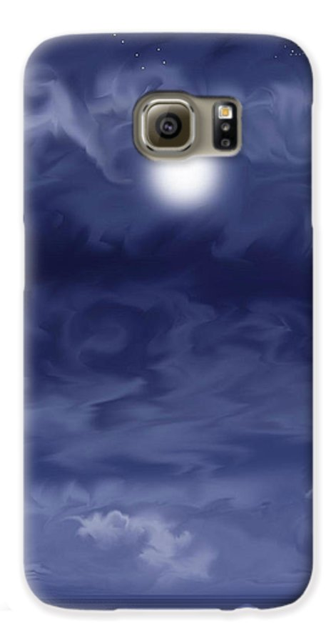 Moon Galaxy S6 Case featuring the painting Cobalt by Anne Norskog