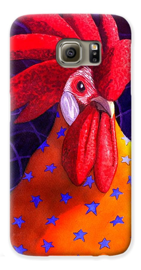 Rooster Galaxy S6 Case featuring the painting Cock A Doodle Dude by Catherine G McElroy