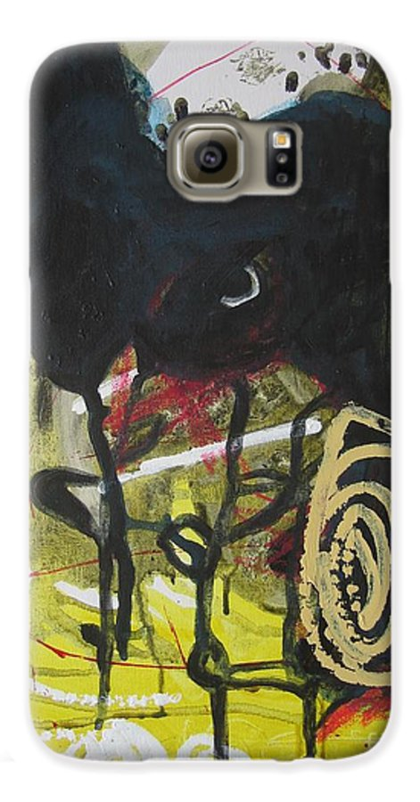 Abstract Paintings Galaxy S6 Case featuring the painting Crescent2 by Seon-Jeong Kim