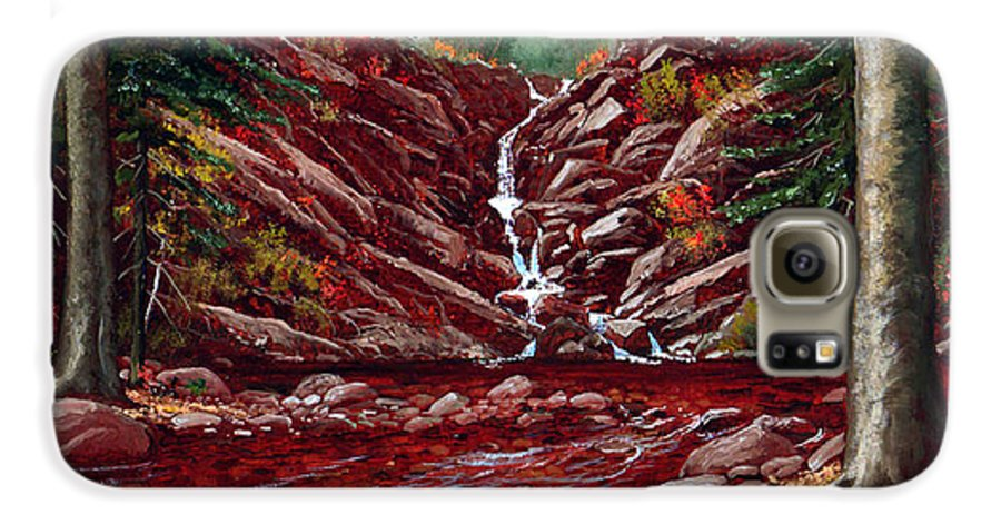 Frank Wilson Galaxy S6 Case featuring the painting Deepwoods Cascade by Frank Wilson
