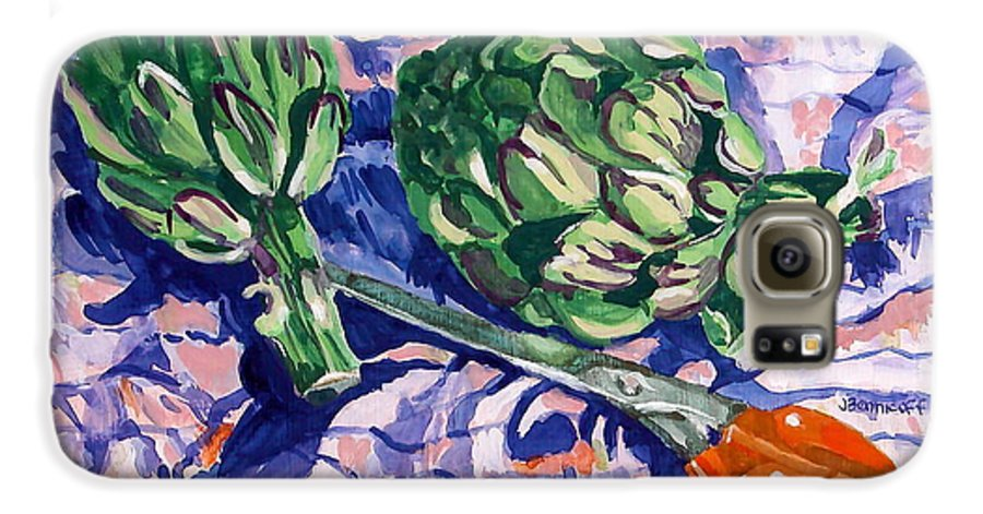 Greens Galaxy S6 Case featuring the painting Edible Flowers by Jan Bennicoff