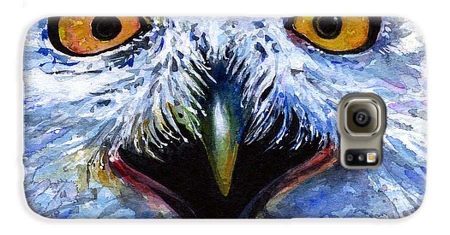 Eye Galaxy S6 Case featuring the painting Eyes Of Owls No. 15 by John D Benson