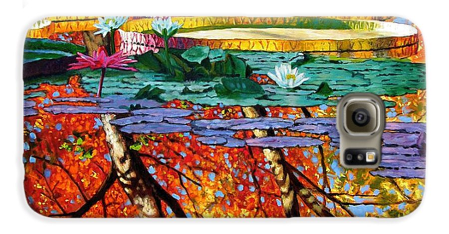 Water Lilies Galaxy S6 Case featuring the painting Fall Reflections by John Lautermilch