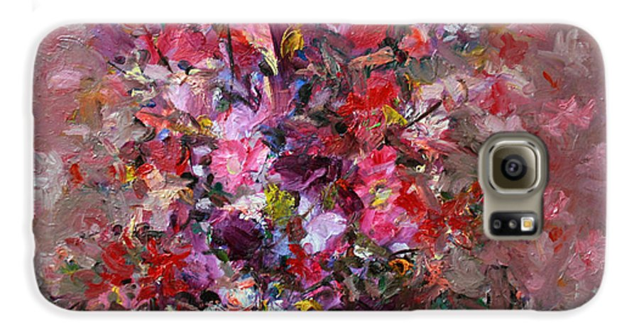 Pink Flowers Galaxy S6 Case featuring the painting Flowers by Mario Zampedroni