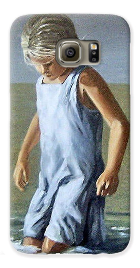 Girl Children Reflection Water Sea Figurative Portrait Galaxy S6 Case featuring the painting Girl by Natalia Tejera