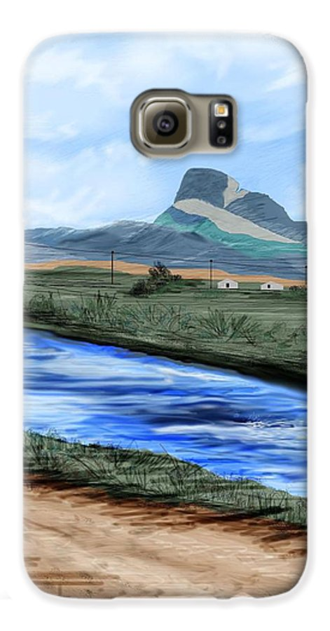 Heart Mountain Galaxy S6 Case featuring the painting Heart Mountain And The Canal by Anne Norskog