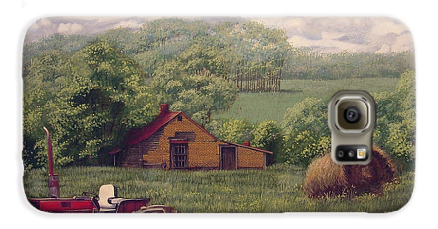 Landscape Galaxy S6 Case featuring the painting Idle In Godfrey Georgia by Peter Muzyka