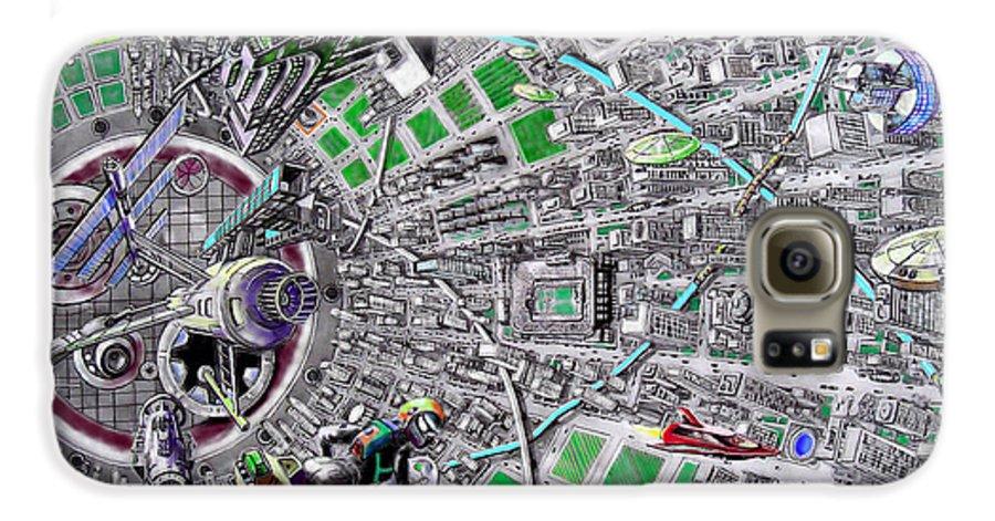 Landscape Galaxy S6 Case featuring the drawing Inside Orbital City by Murphy Elliott