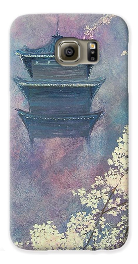 Landscape Japan Galaxy S6 Case featuring the painting Japanese Spring Scene by Lizzy Forrester