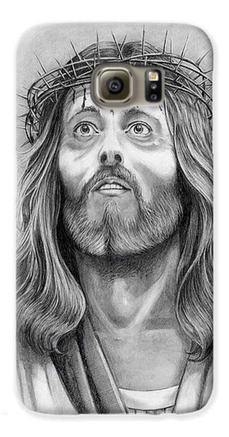 Jesus Christ Galaxy S6 Case featuring the drawing King Of Kings by Murphy Elliott