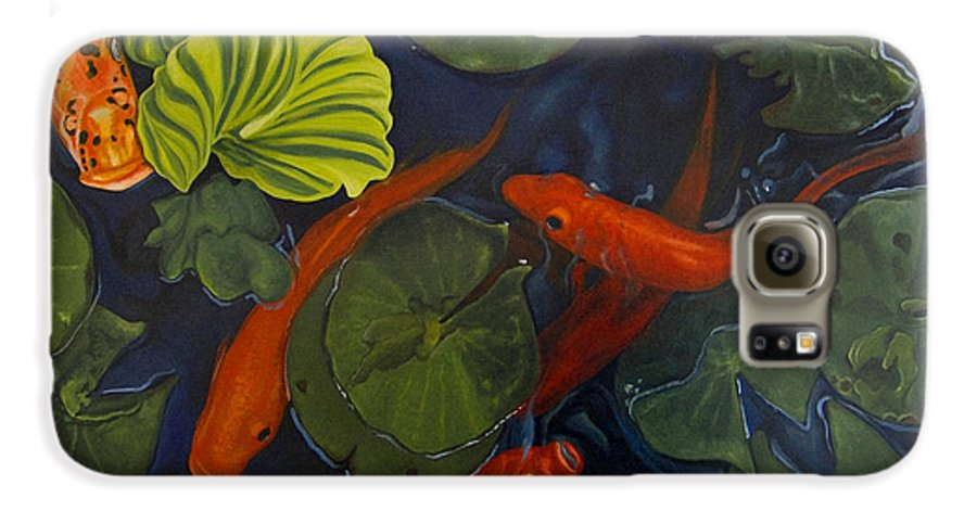Painting Galaxy S6 Case featuring the painting Koi Ballet by Peter Muzyka