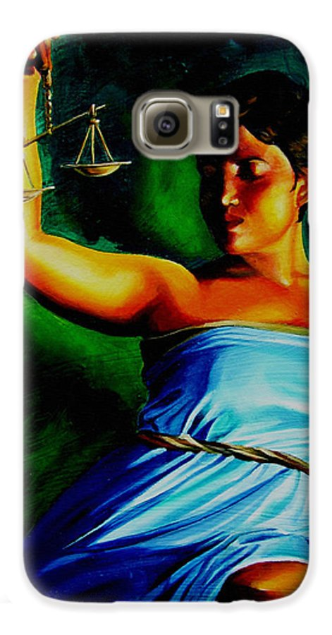 Law Art Galaxy S6 Case featuring the painting Lady Justice by Laura Pierre-Louis