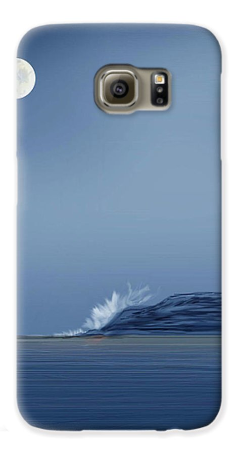 Seascape Galaxy S6 Case featuring the painting Looking At The Moon by Anne Norskog