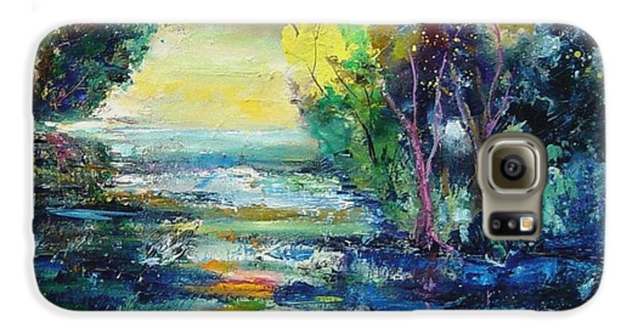 Pond Galaxy S6 Case featuring the painting Magic Pond by Pol Ledent