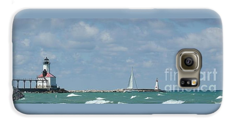 Scenery Galaxy S6 Case featuring the photograph Michigan City Beach Lighthouse by Barb Montanye Meseroll