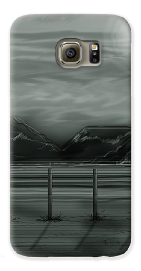 Landscape Galaxy S6 Case featuring the painting Moon Over The Beartooth by Anne Norskog