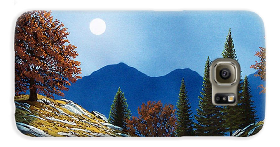 Landscape Galaxy S6 Case featuring the painting Mountain Moonrise by Frank Wilson