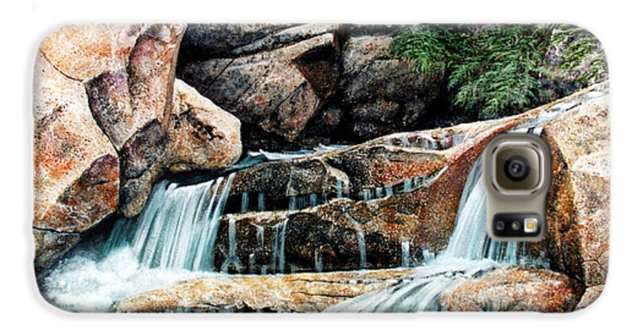Landscape Galaxy S6 Case featuring the painting Mountain Stream by Frank Wilson