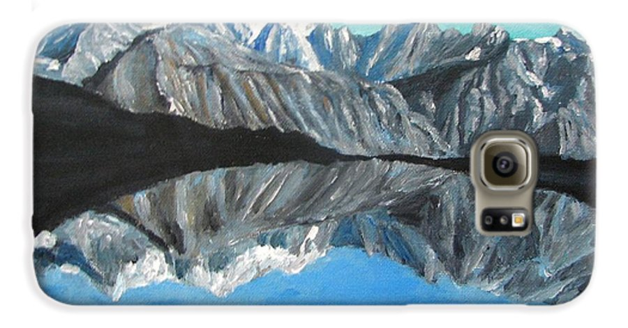 Smoky Mountains Galaxy S6 Case featuring the painting Mountains Landscape Acrylic Painting by Natalja Picugina