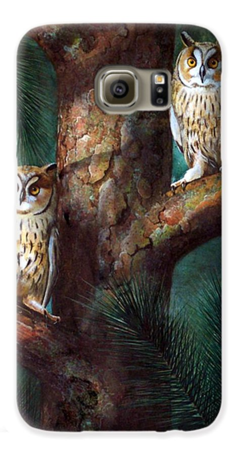Wildlife Galaxy S6 Case featuring the painting Owls In Moonlight by Frank Wilson
