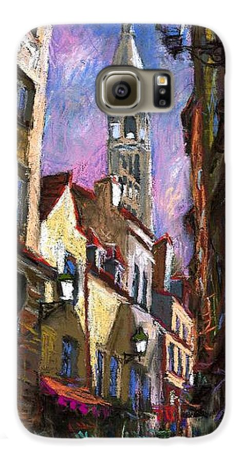 Pastel Galaxy S6 Case featuring the painting Paris Montmartre by Yuriy Shevchuk