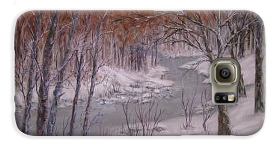 Snow; Landscape Galaxy S6 Case featuring the painting Peace And Quiet by Ben Kiger