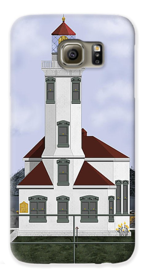 Lighthouse Galaxy S6 Case featuring the painting Point Wilson Lighthouse by Anne Norskog