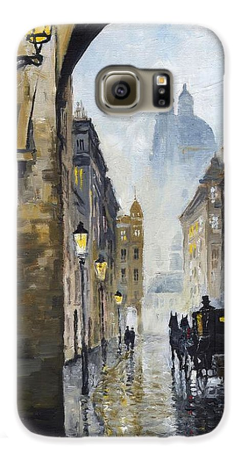 Prague Galaxy S6 Case featuring the painting Prague Old Street 01 by Yuriy Shevchuk