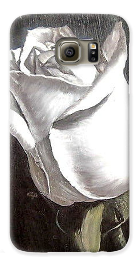 Flower Rose Still Life Galaxy S6 Case featuring the painting Rose 2 by Natalia Tejera