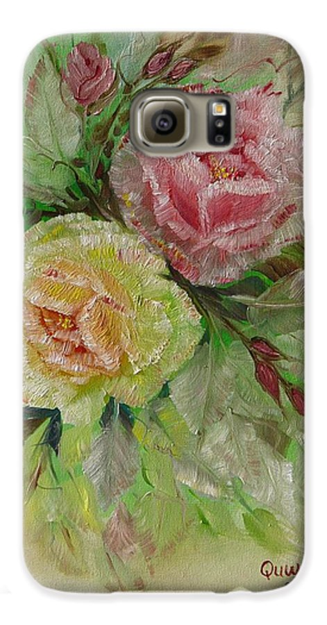 Roses Galaxy S6 Case featuring the painting Roses by Quwatha Valentine