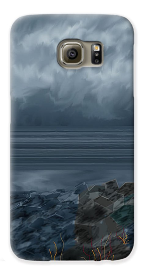 Seascape Galaxy S6 Case featuring the painting Slack Tide On The Jetty by Anne Norskog
