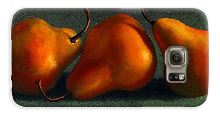 Still Life Galaxy S6 Case featuring the painting Three Golden Pears by Frank Wilson