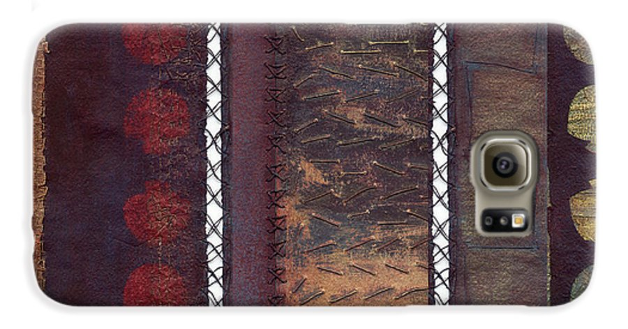 3panel Galaxy S6 Case featuring the painting Three Panel Transitional Page Format by Kerryn Madsen- Pietsch