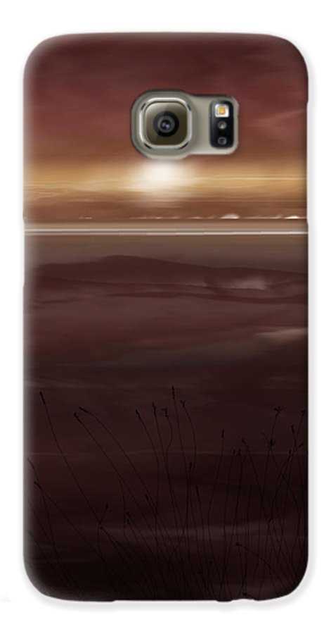 Seascape Galaxy S6 Case featuring the painting Tide Flats At Dusk by Anne Norskog