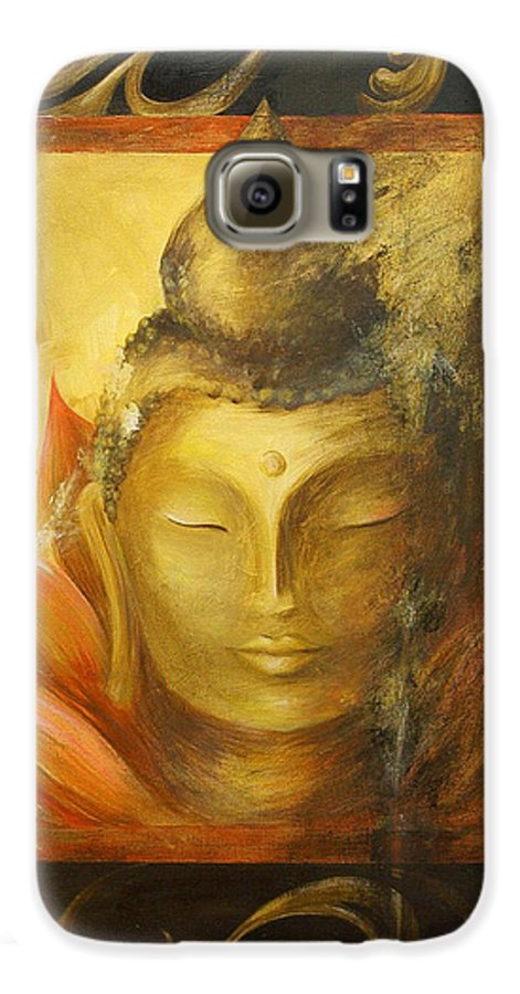 Buddha Buddhist Spiritual Yoga Lotus Meditation Galaxy S6 Case featuring the painting Transcendence by Dina Dargo